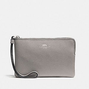 Coach Leather Corner Zip Wristlet Silv/Grey Birch